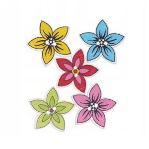 Guziki drewniane 20 mm Kwiat 5 szt.