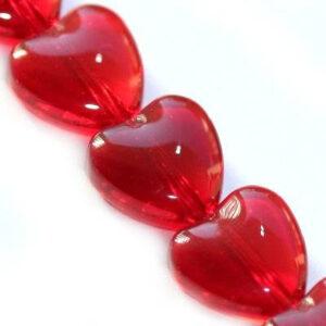 Koraliki szklane serce czerwone 10 mm