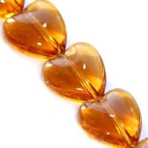Koraliki szklane serce miodowe 10 mm