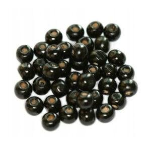 Koraliki drewniane okrągłe czarne 7x8 mm 20 szt