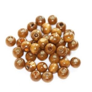 Koraliki drewniane okrągłe j.brązowe 7x8 mm 20 szt