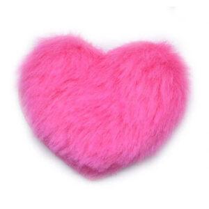 Naszywka Aplikacja Serce futerko różowe