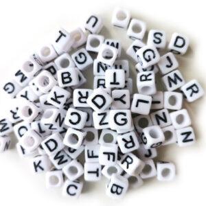 Kostki akrylowe litery literki 6x6 mm 100 szt.