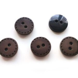 Guziki ciemne beżowe wzorek 12,5 mm 2 otw. 5 szt
