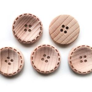 Guziki drewniane bukowe 23 mm wzorek 5 szt.