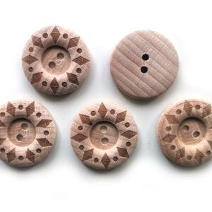 Guziki drewniane bukowe 28 mm 5 szt. 03